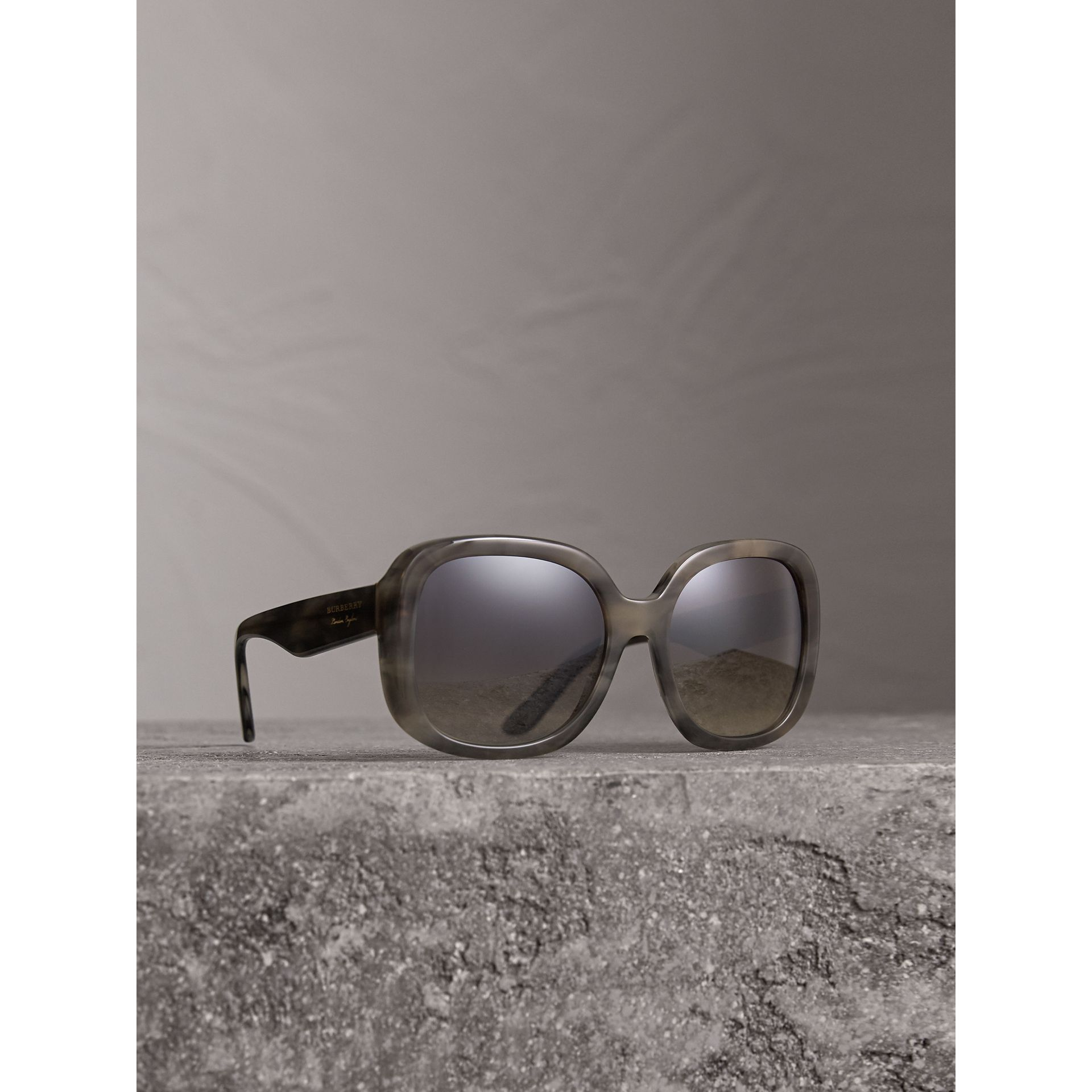 Square Frame Sunglasses in Grey - Women | Burberry United States - gallery image 0