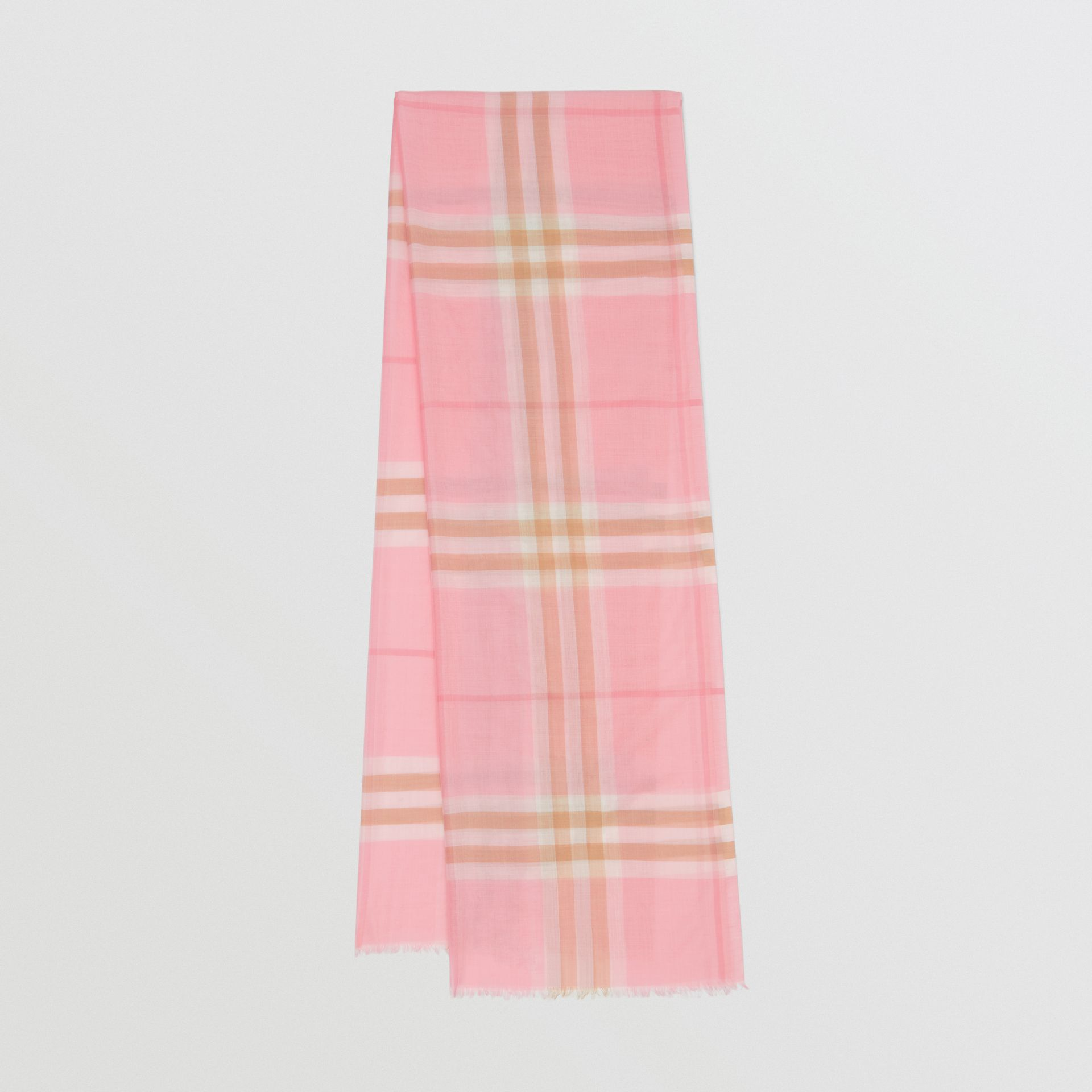 Lightweight Check Wool Silk Scarf in Candy Pink | Burberry Canada - gallery image 0