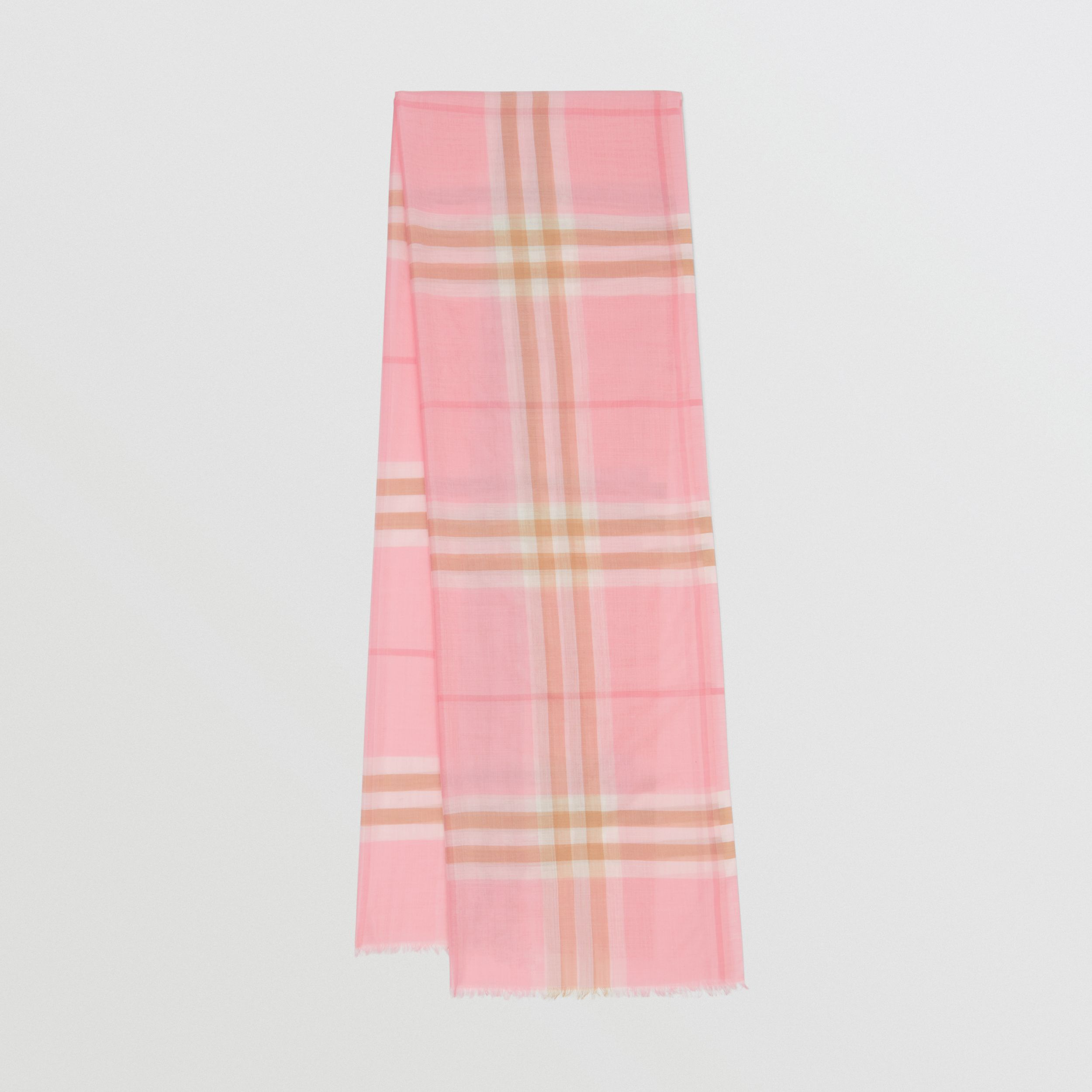 Lightweight Check Wool Silk Scarf in Candy Pink | Burberry - 1