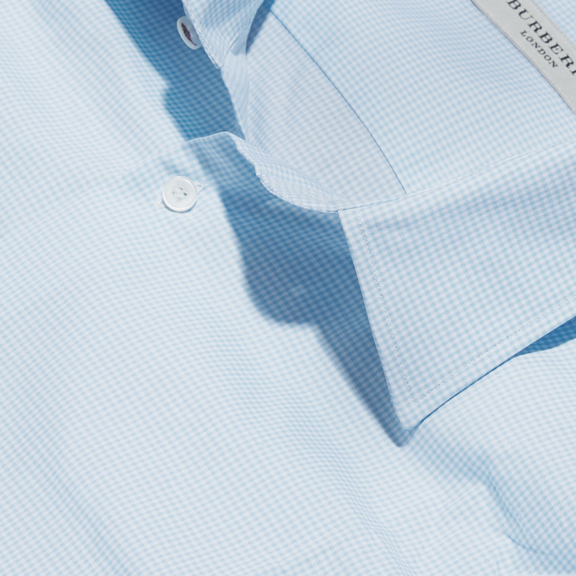 Slim Fit Gingham Cotton Poplin Shirt in City Blue - Men | Burberry - gallery image 2