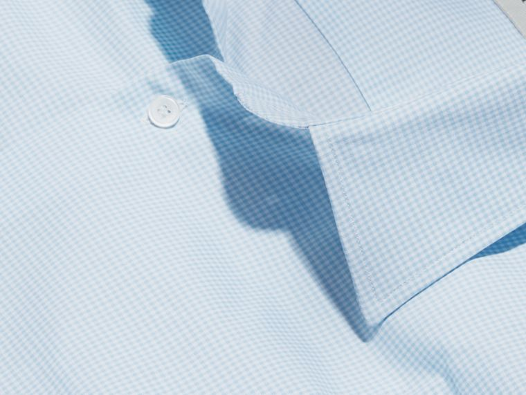 Slim Fit Gingham Cotton Poplin Shirt in City Blue - Men | Burberry - cell image 1