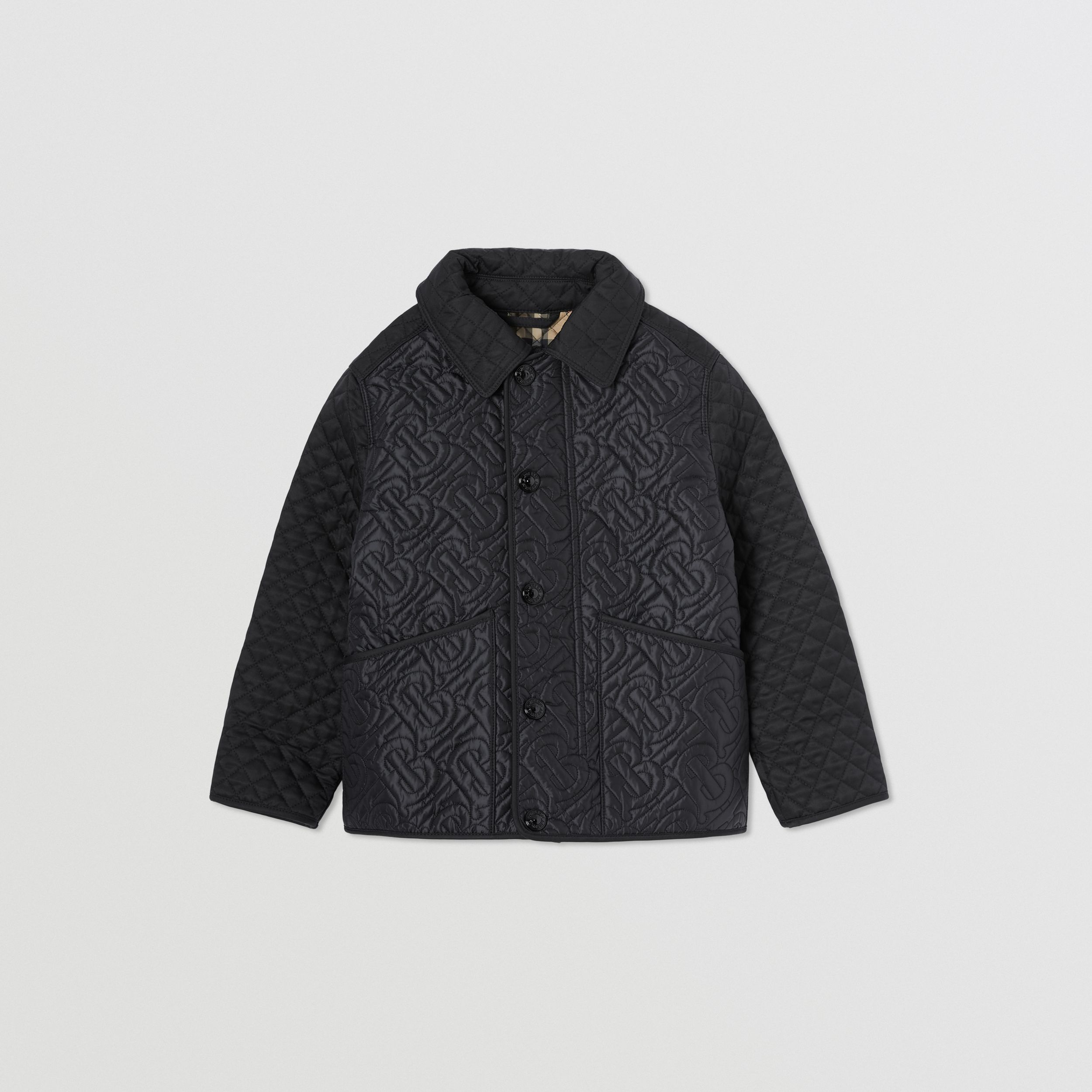 Monogram Quilted Panel Recycled Polyester Jacket in Black | Burberry - 1