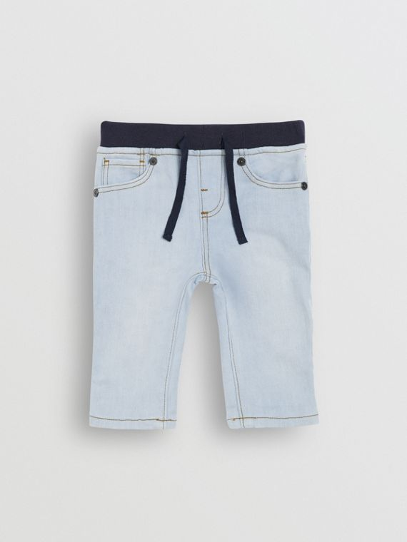 Relaxed Fit Pull-on Stretch Denim Jeans in Light Blue