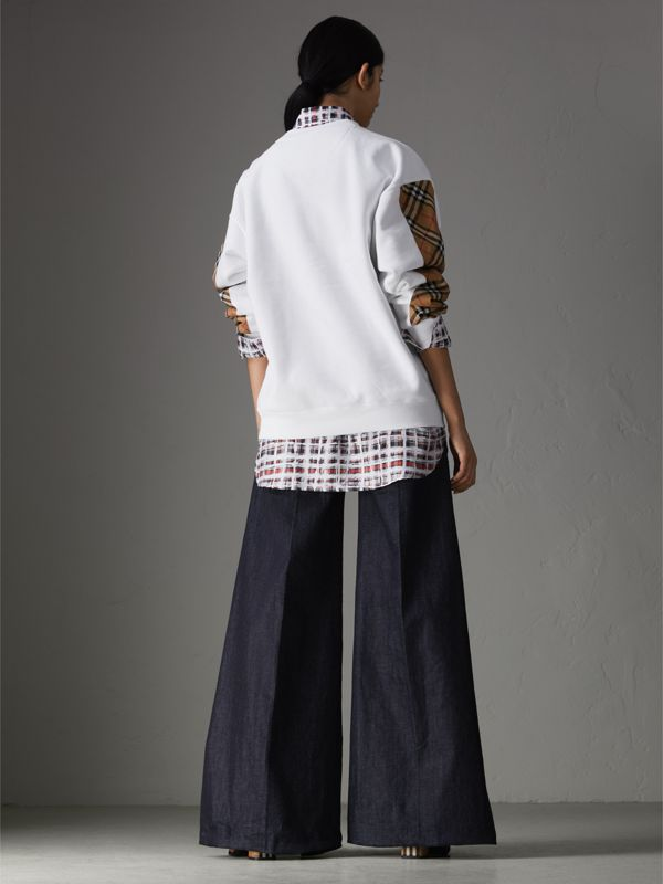 Vintage Check Detail Cotton Blend Sweatshirt in White - Women | Burberry Singapore - cell image 2