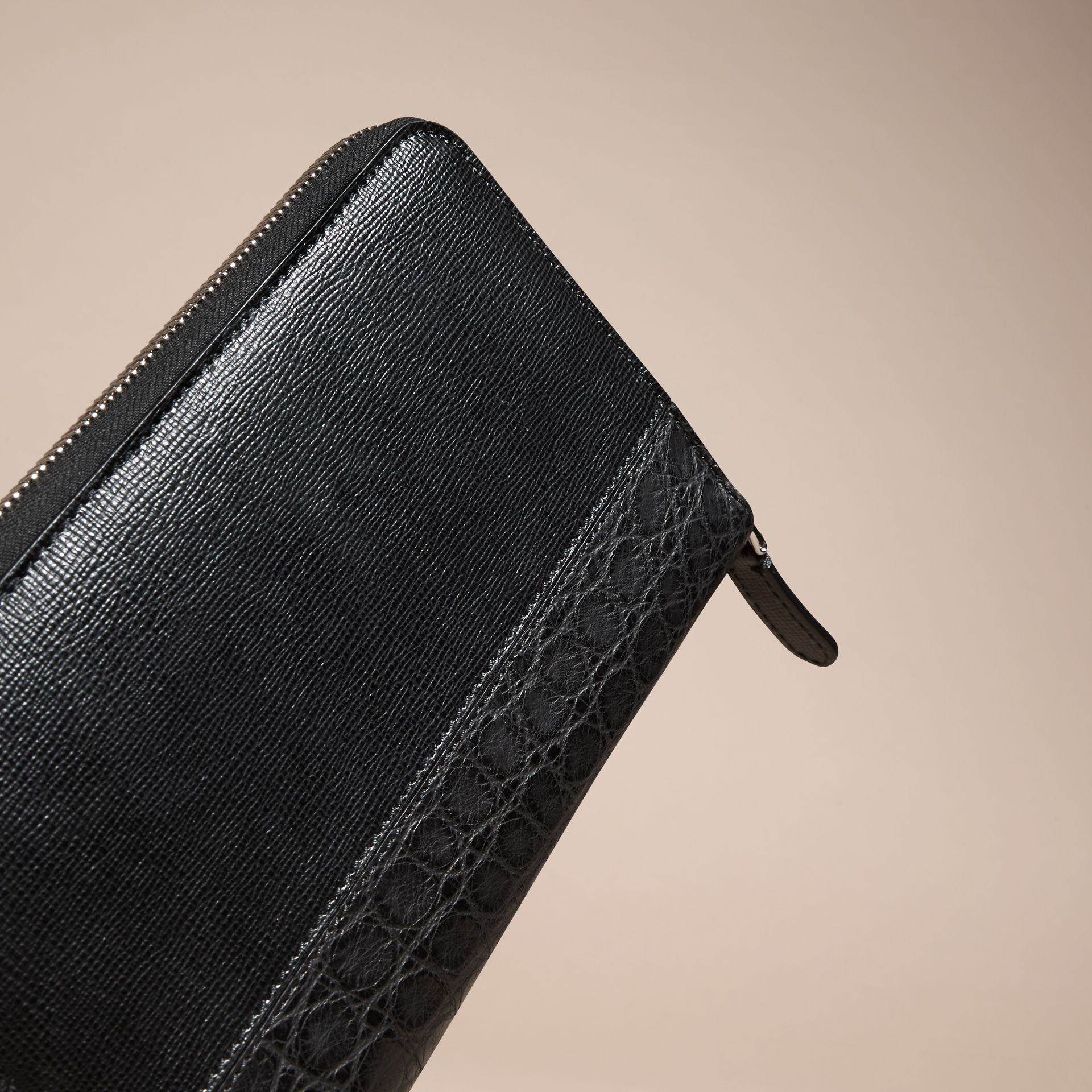 Black London Leather and Alligator Ziparound Wallet Black - gallery image 4