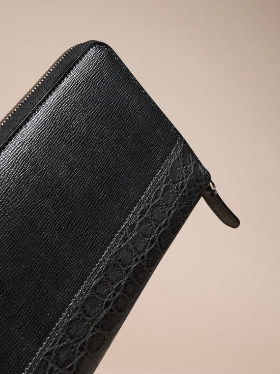 London Leather and Alligator Ziparound Wallet in Black - cell image 3