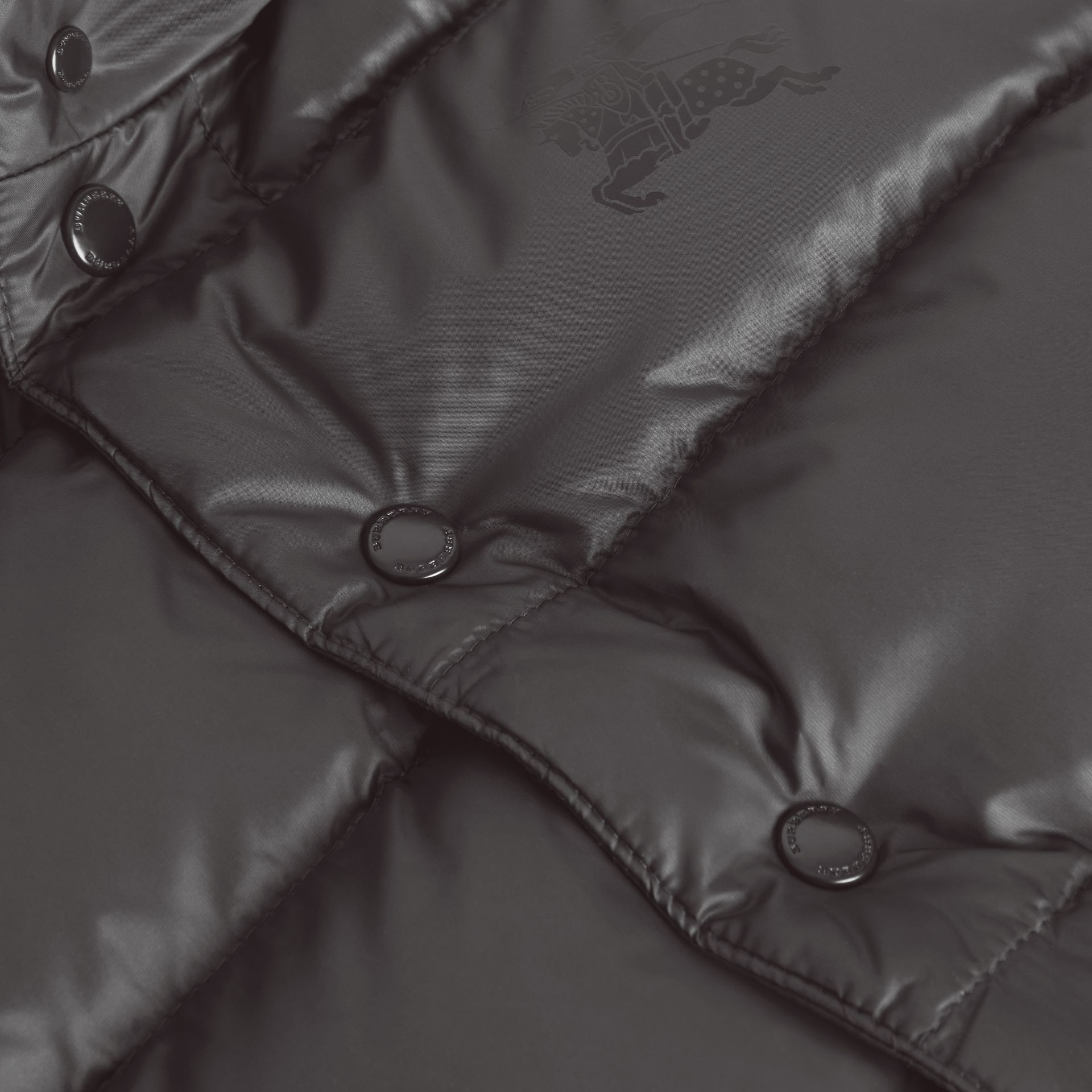 Reversible Showerproof Down-filled Hooded Gilet in Dark Grey | Burberry - gallery image 1
