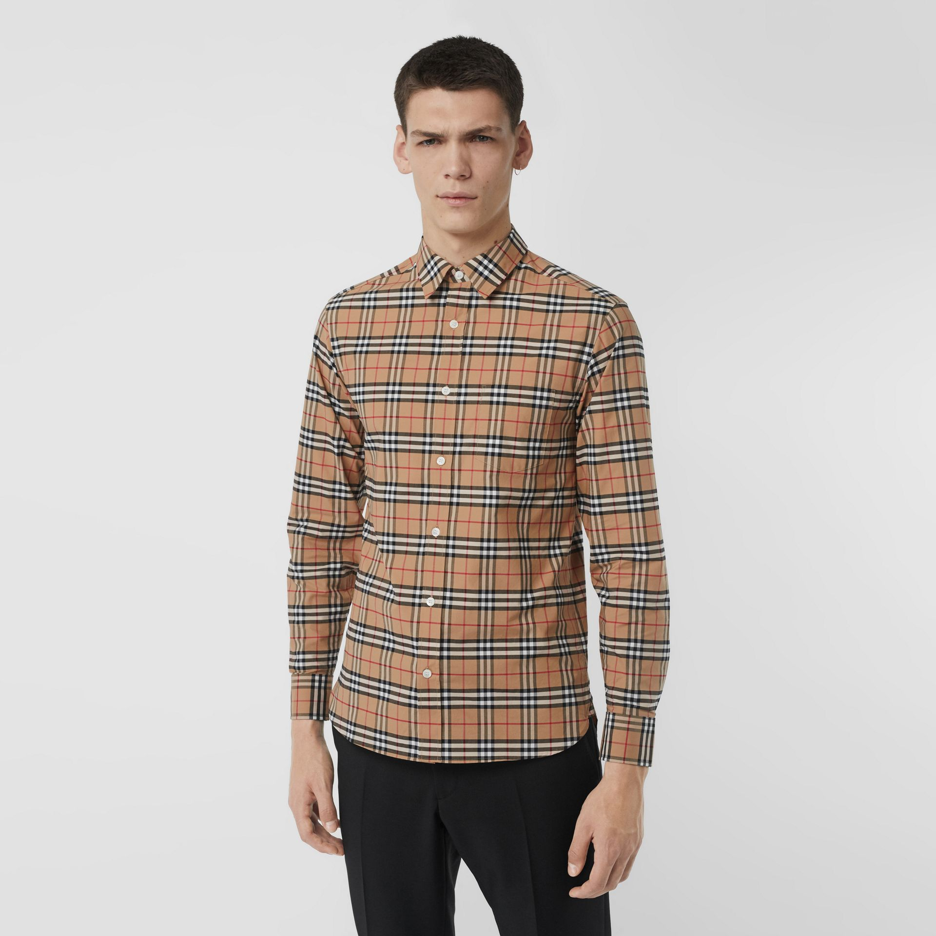 Check Stretch Cotton Shirt in Camel - Men | Burberry United Kingdom - gallery image 0