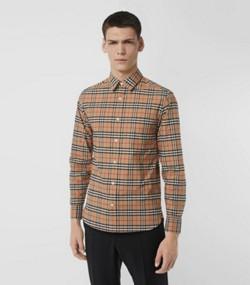 542b1716f5a8b Camisa de algodão stretch com estampa xadrez (Camel)