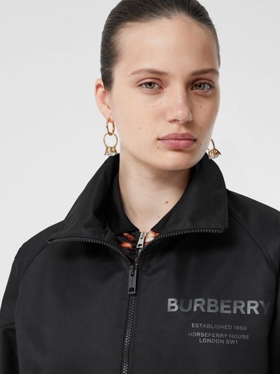 Horseferry Print Lightweight Funnel Neck Jacket in Black - Women | Burberry - cell image 1