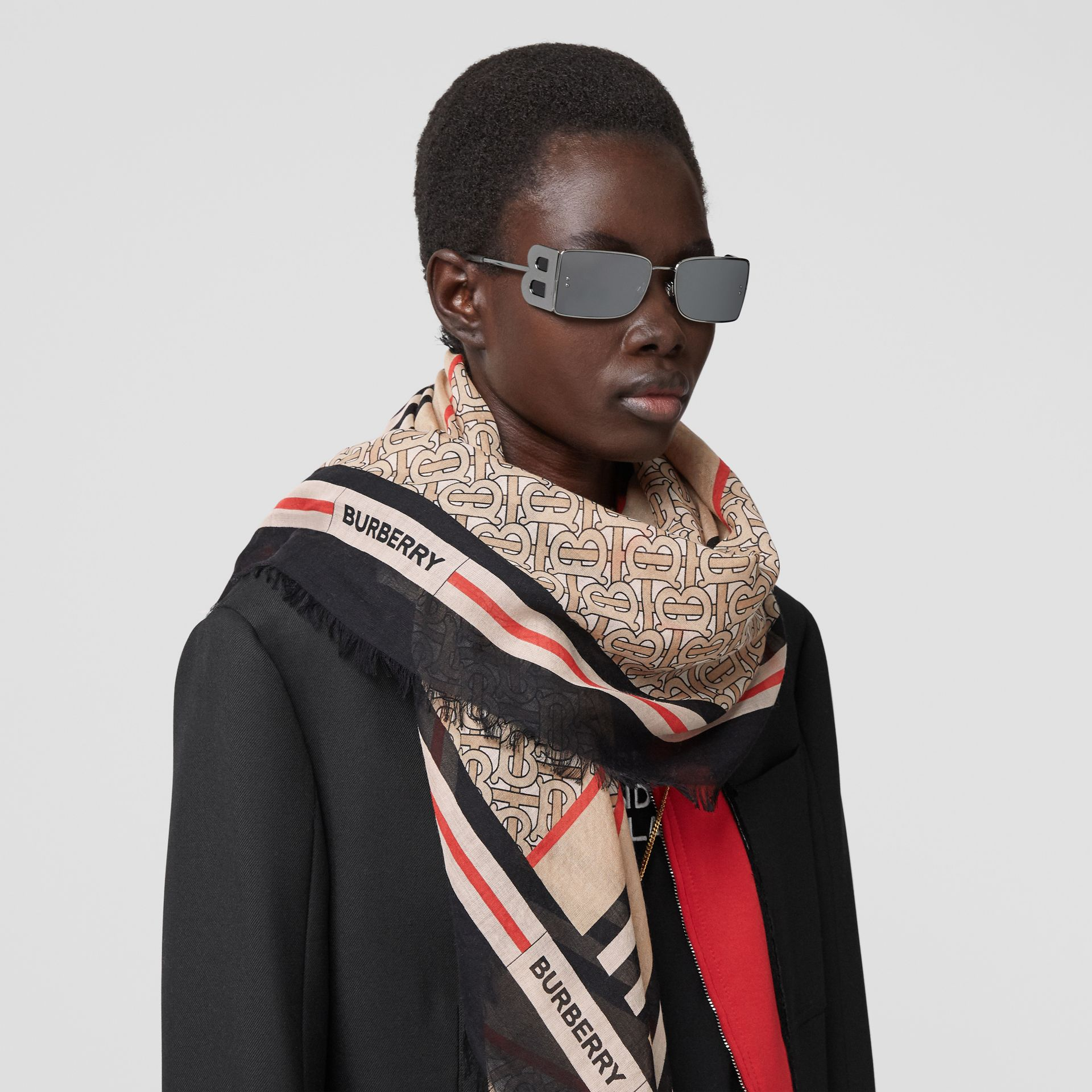 Icon Stripe Monogram Print Wool Silk Square Large Scarf in Archive Beige | Burberry Australia - gallery image 2