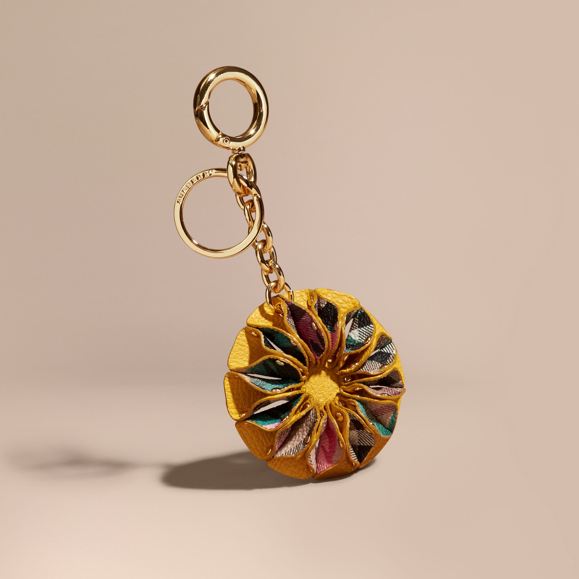 Floral Print Haymarket Check Concertina Key Charm in Larch Yellow - gallery image 1
