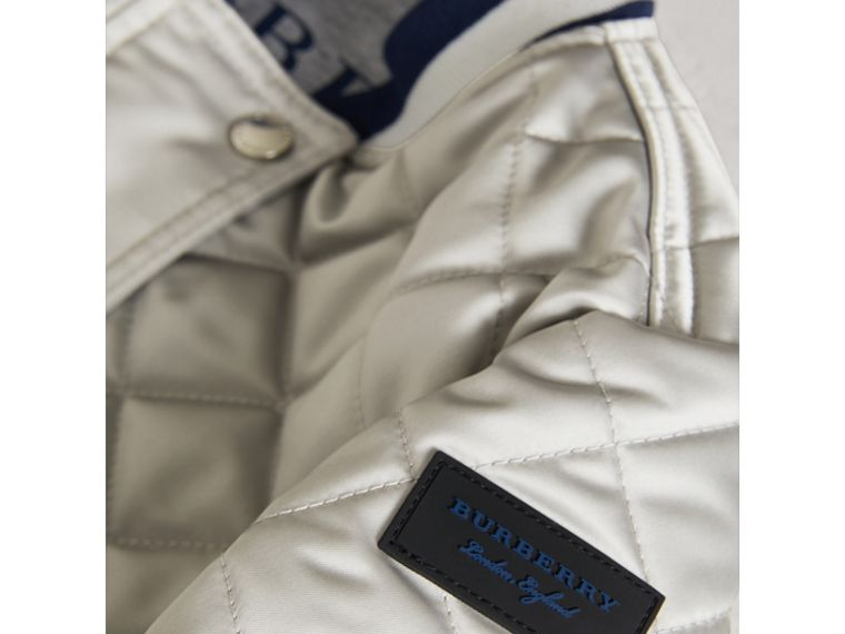 Stripe Detail Diamond Quilted Satin Bomber Jacket in Silver - Girl | Burberry - cell image 1
