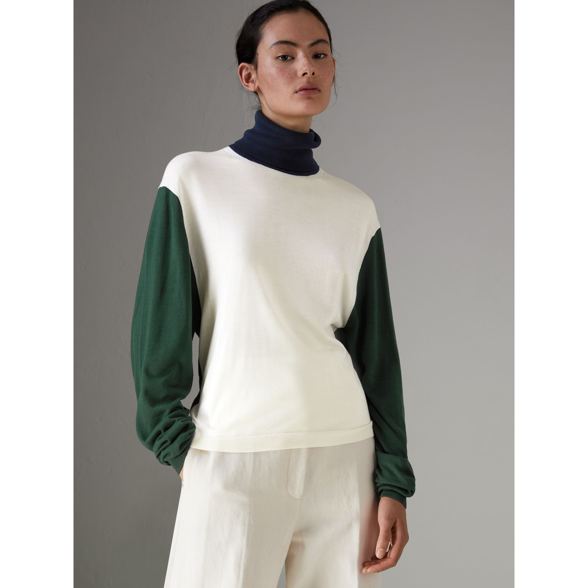Colour Block Silk Cashmere Roll-neck Sweater in Natural White - Women | Burberry - gallery image 4