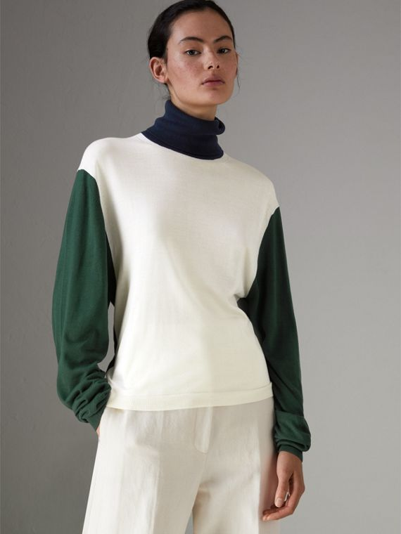 Colour Block Silk Cashmere Roll-neck Sweater in Natural White