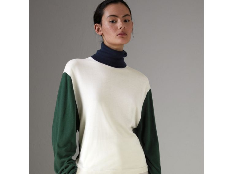 Colour Block Silk Cashmere Roll-neck Sweater in Natural White - Women | Burberry - cell image 4