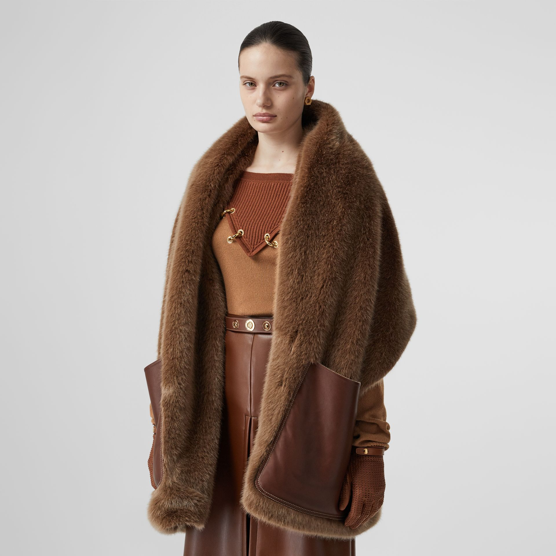 Faux Fur and Cashmere Stole in Camel - Women | Burberry - gallery image 4