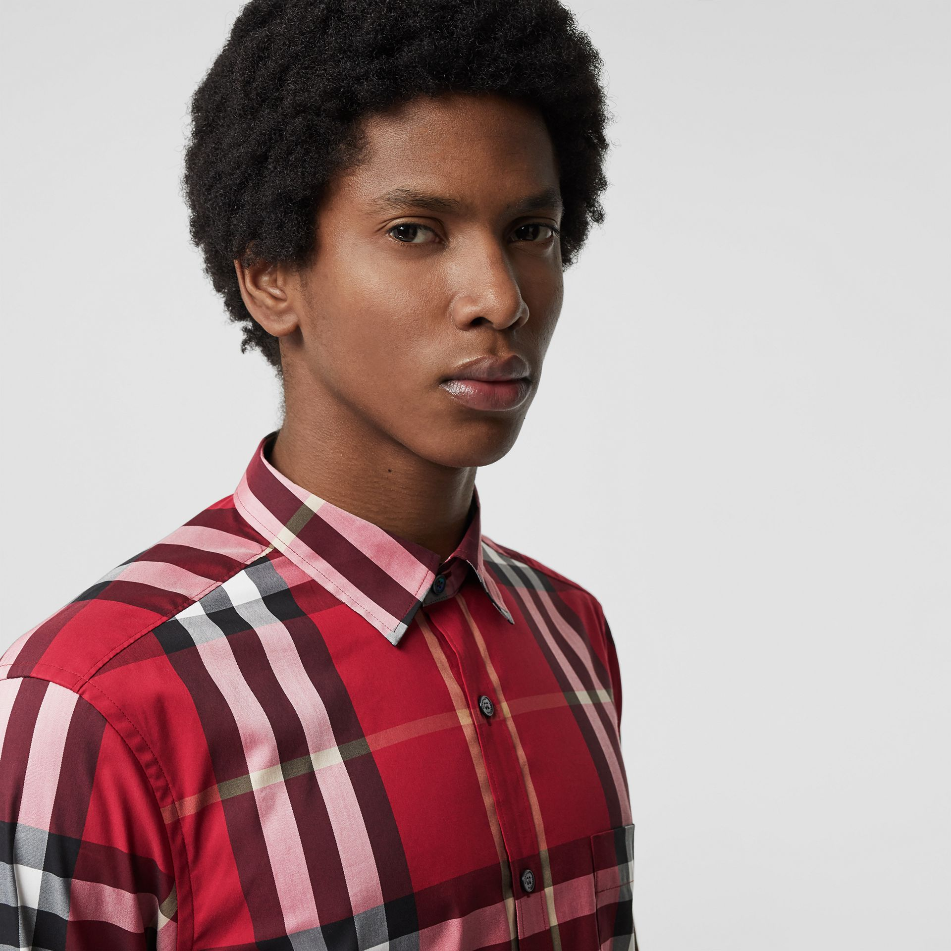 Check Stretch Cotton Shirt in Parade Red - Men | Burberry Singapore - gallery image 1