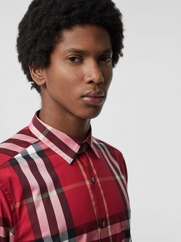 Check Stretch Cotton Shirt in Parade Red - Men | Burberry Hong Kong S.A.R - cell image 1