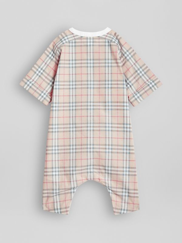 Bib Detail Check Cotton Jumpsuit in Pale Stone - Children | Burberry - cell image 3