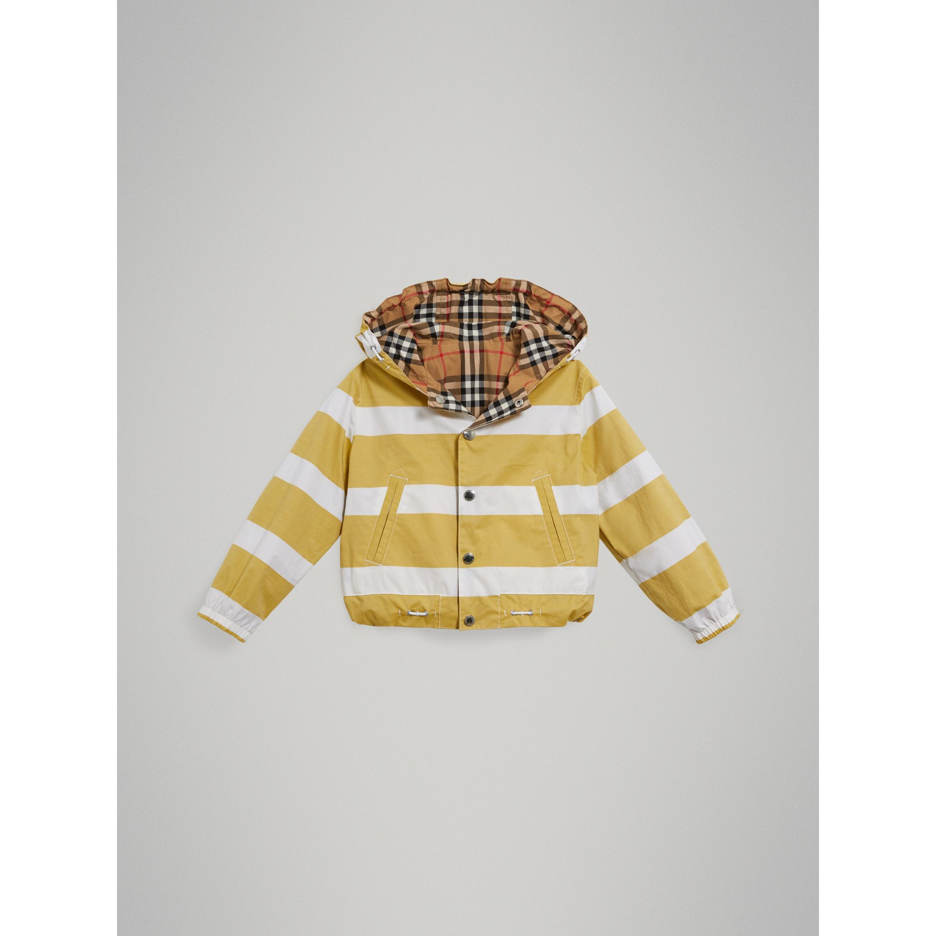 Reversible Stripe and Vintage Check Cotton Jacket in Larch Yellow/whte | Burberry - gallery image 0