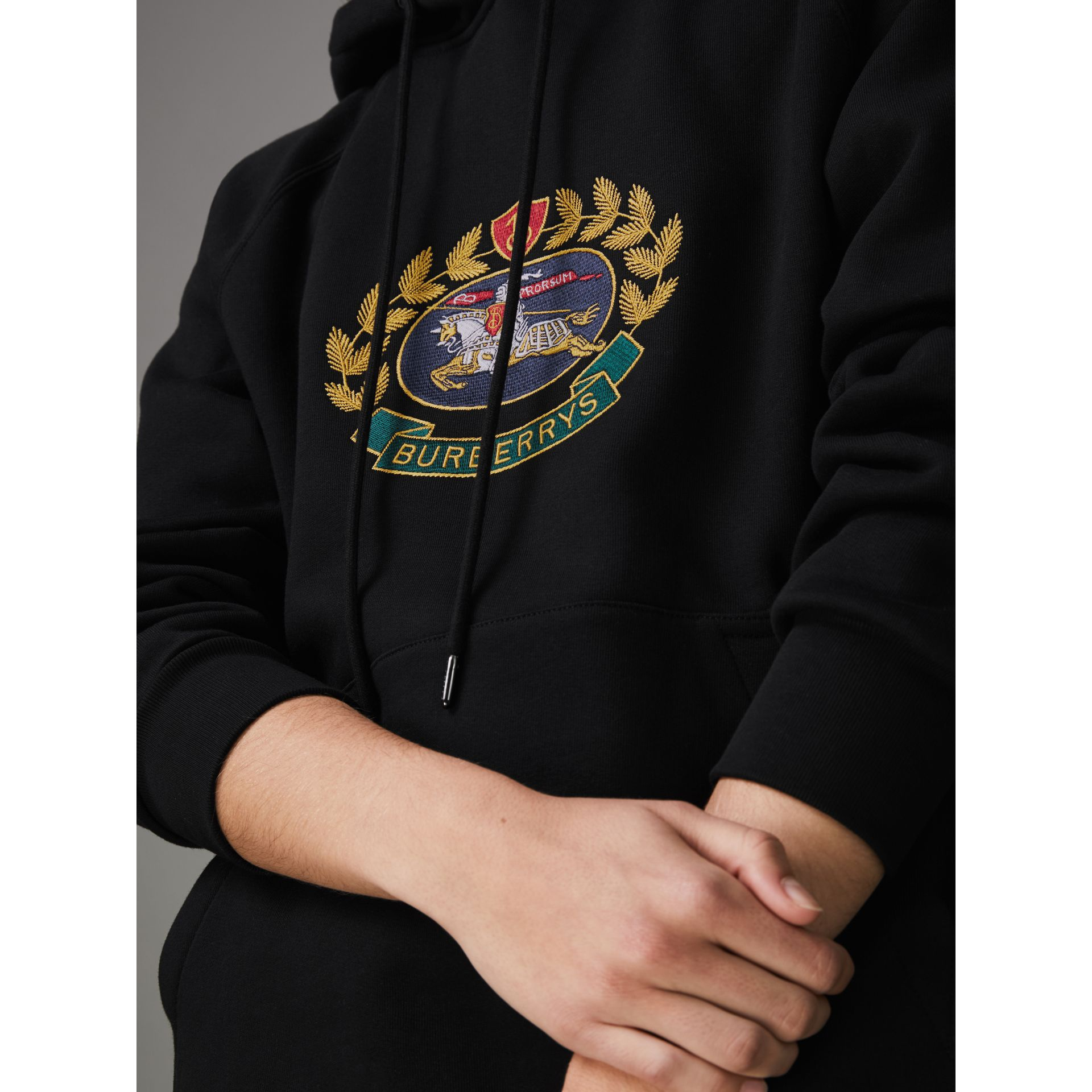 Embroidered Archive Logo Oversized Hoodie in Black - Women | Burberry - gallery image 1