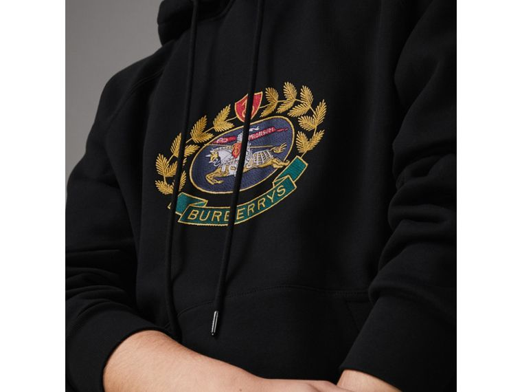 Embroidered Archive Logo Oversized Hoodie in Black - Women | Burberry - cell image 1
