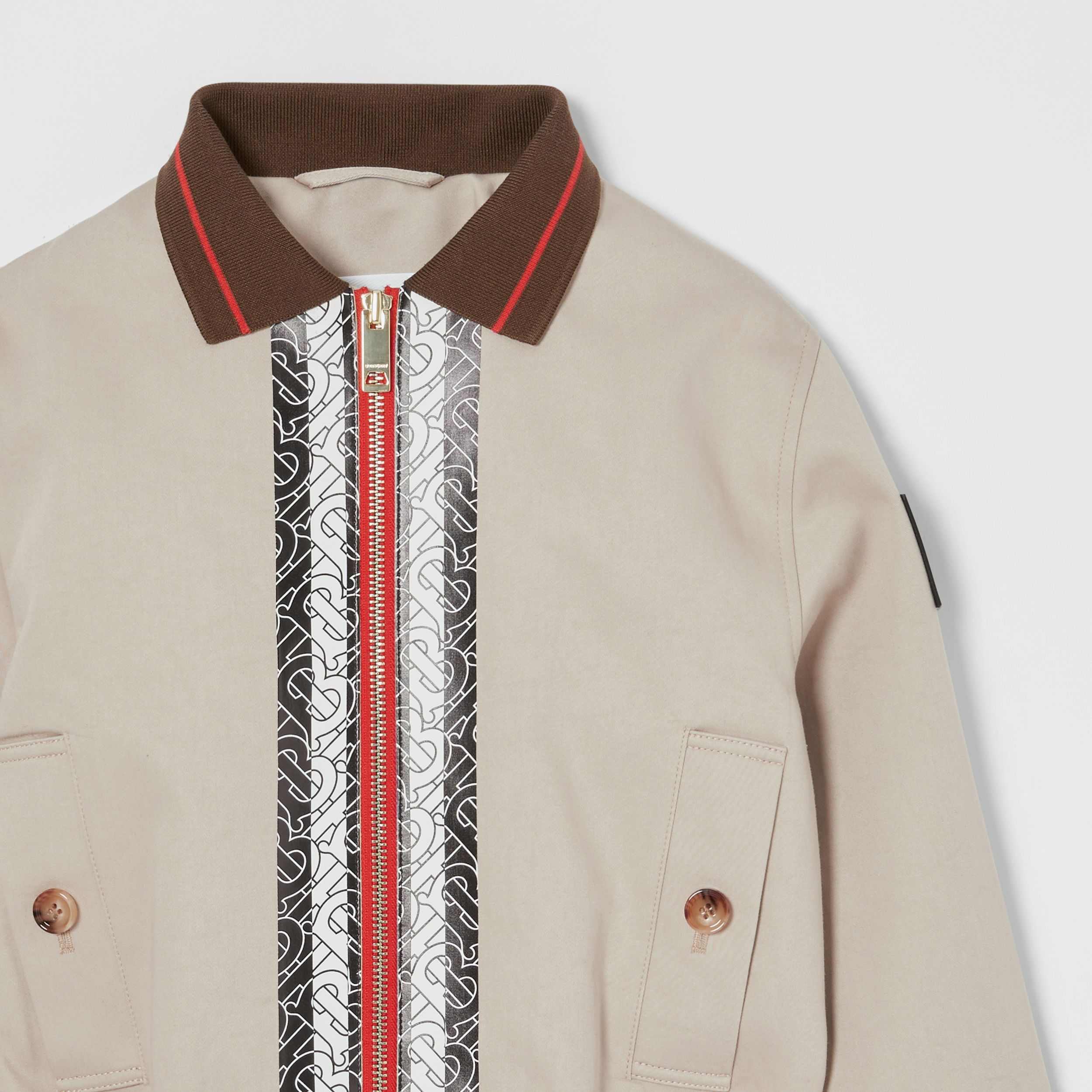 Monogram Stripe Print Cotton Harrington Jacket in Stone | Burberry - 4