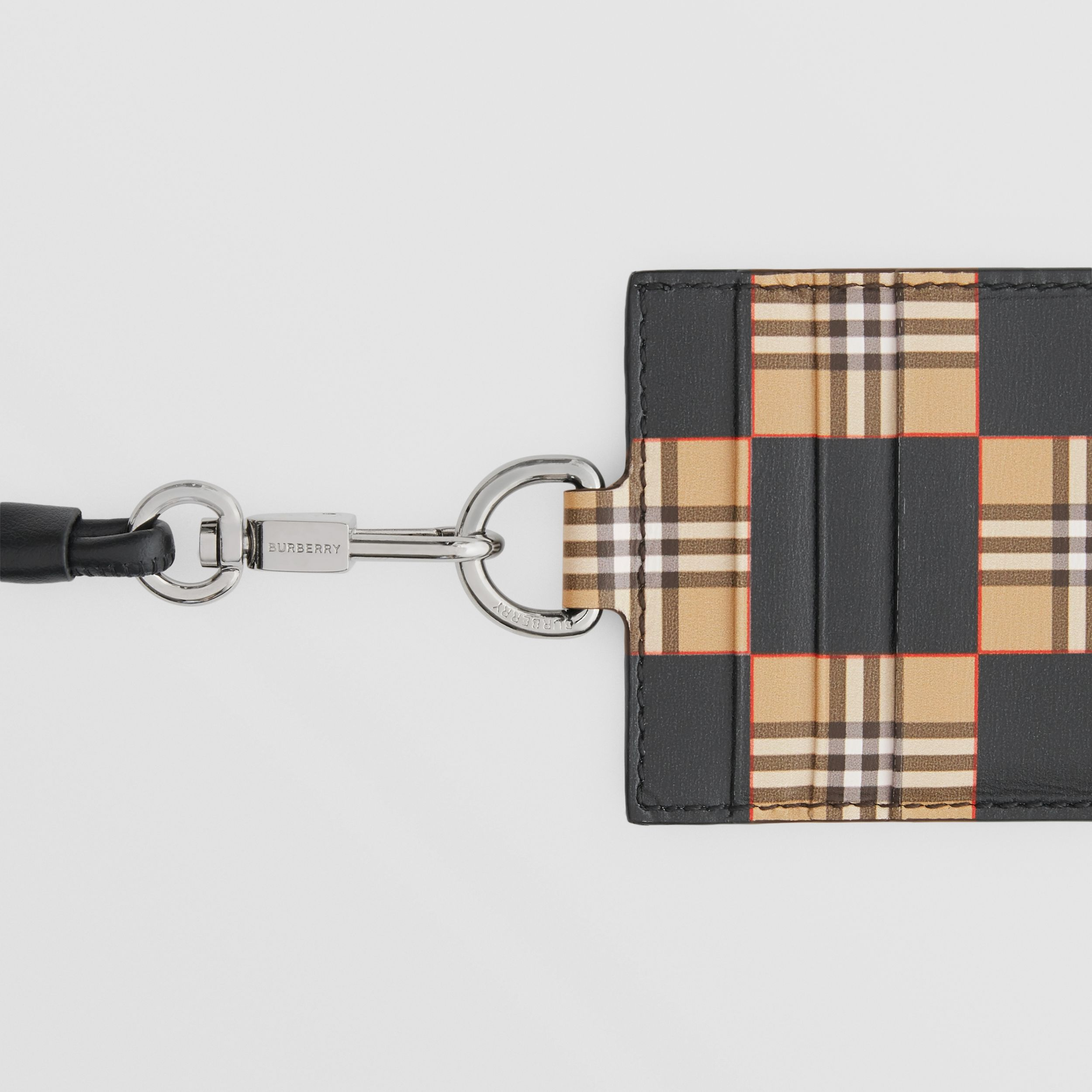 Chequer Print Leather Card Case Lanyard - Men | Burberry - 2