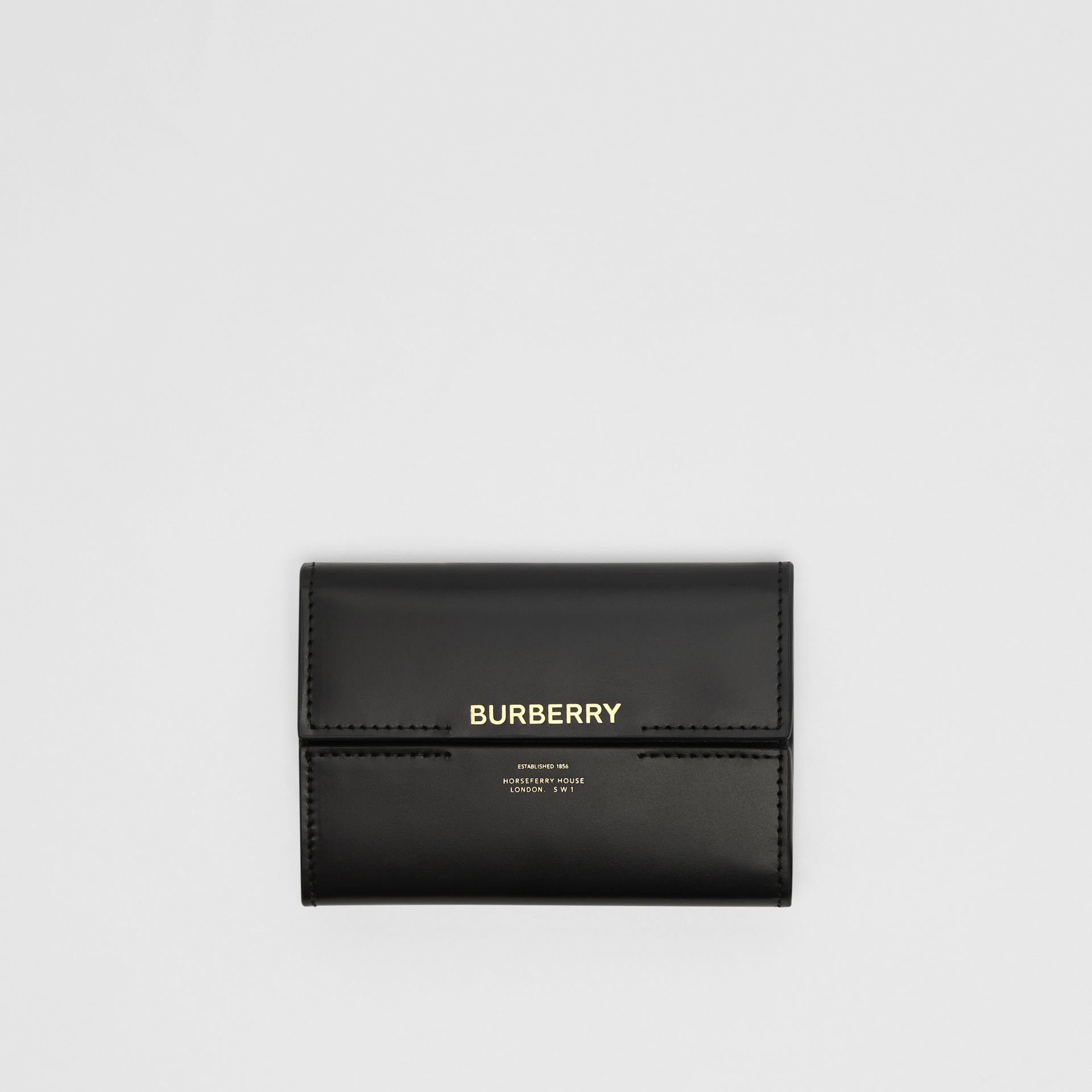 Horseferry Print Leather Folding Wallet in Black | Burberry - gallery image 0