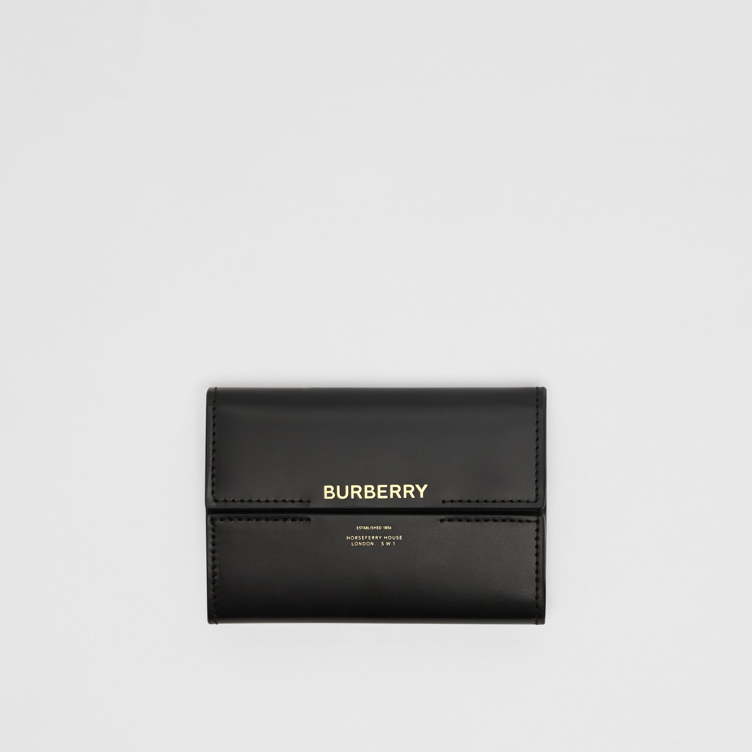 Horseferry Print Leather Folding Wallet in Black | Burberry - 1