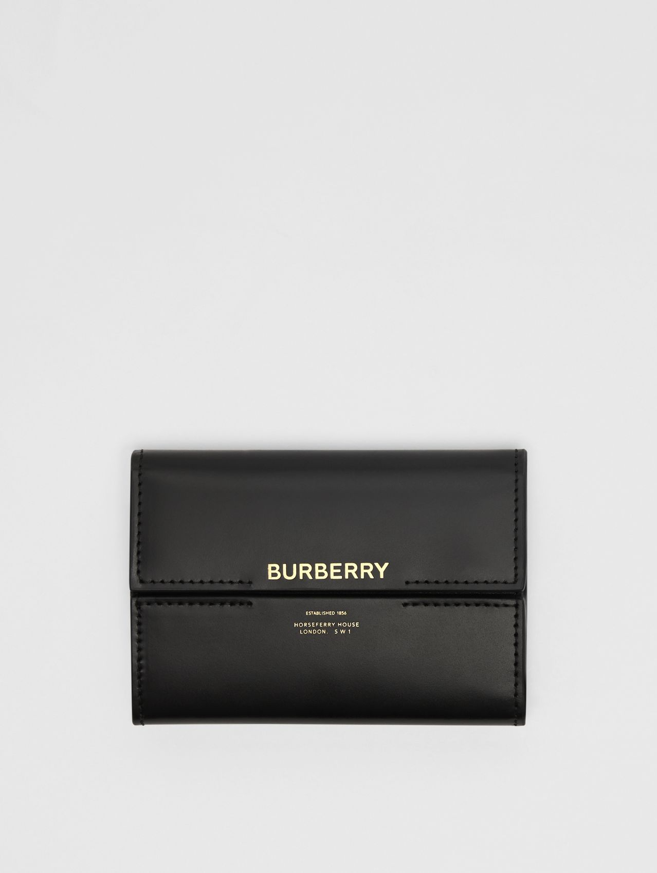 Horseferry Print Leather Folding Wallet in Black