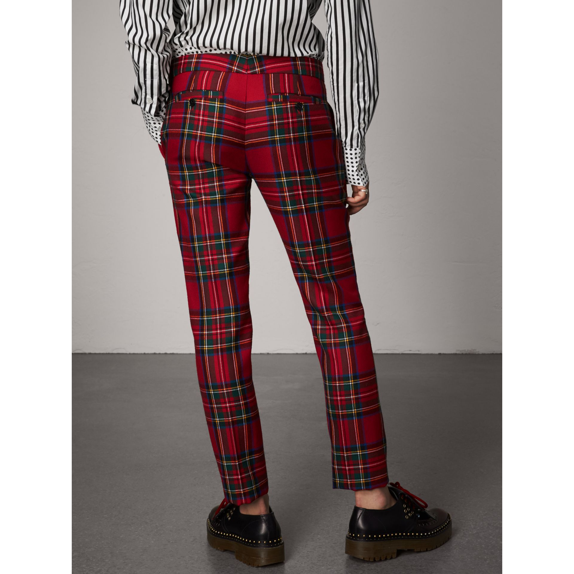 Tartan Wool Tailored Trousers in Bright Red - Women | Burberry - gallery image 2