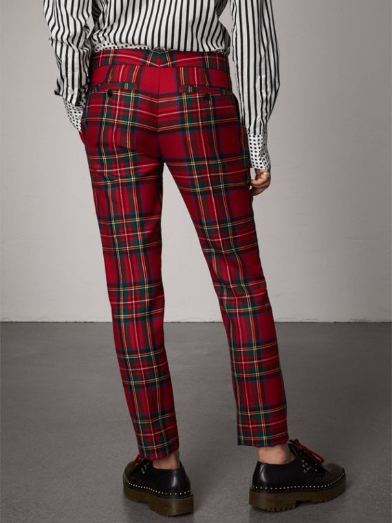 Tartan Wool Tailored Trousers in Bright Red - Women | Burberry - cell image 2