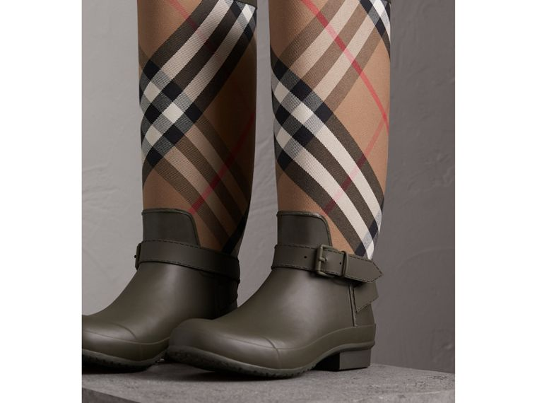 Belt Detail House Check and Rubber Rain Boots in Military Green - Men | Burberry Australia - cell image 4