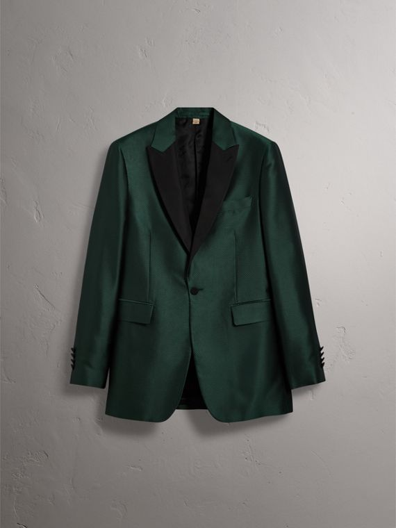Soho Fit Jacquard Evening Jacket in Forest Green - Men | Burberry United States - cell image 3