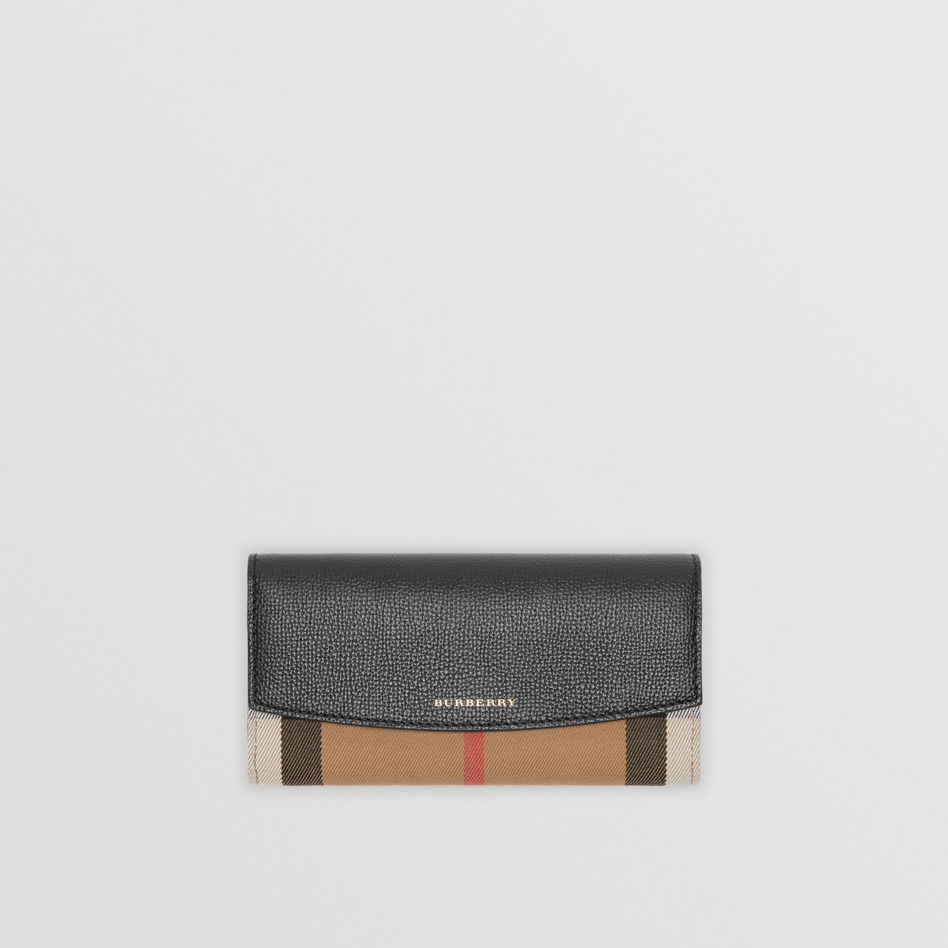 House Check And Leather Continental Wallet in Black - Women | Burberry Hong Kong - gallery image 0