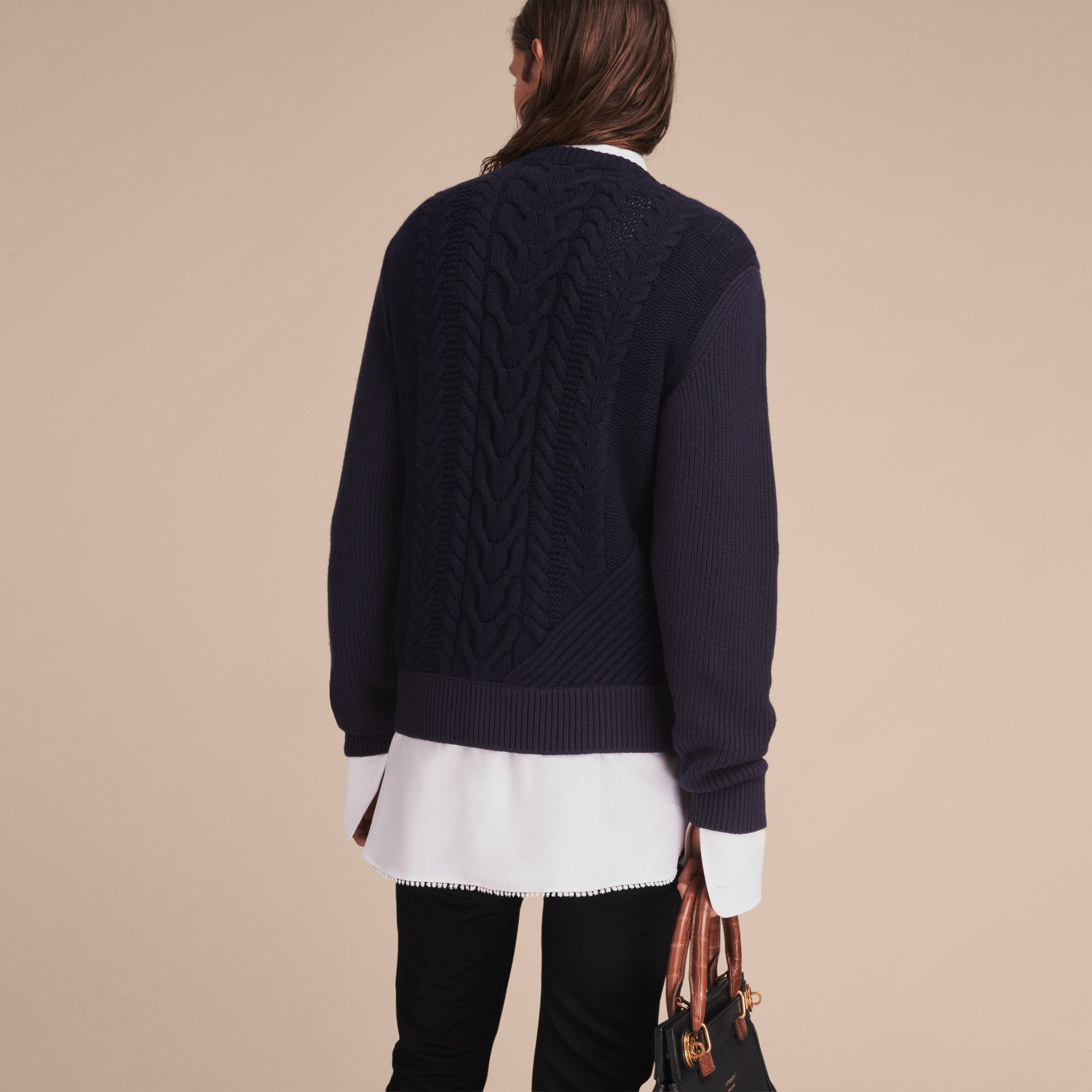 Cashmere Sweater with Cable Knit Detail - gallery image 3