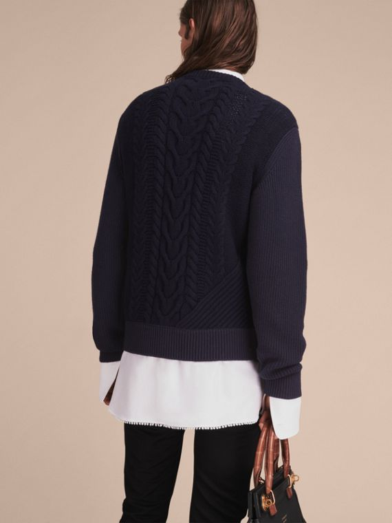 Cashmere Sweater with Cable Knit Detail - cell image 2