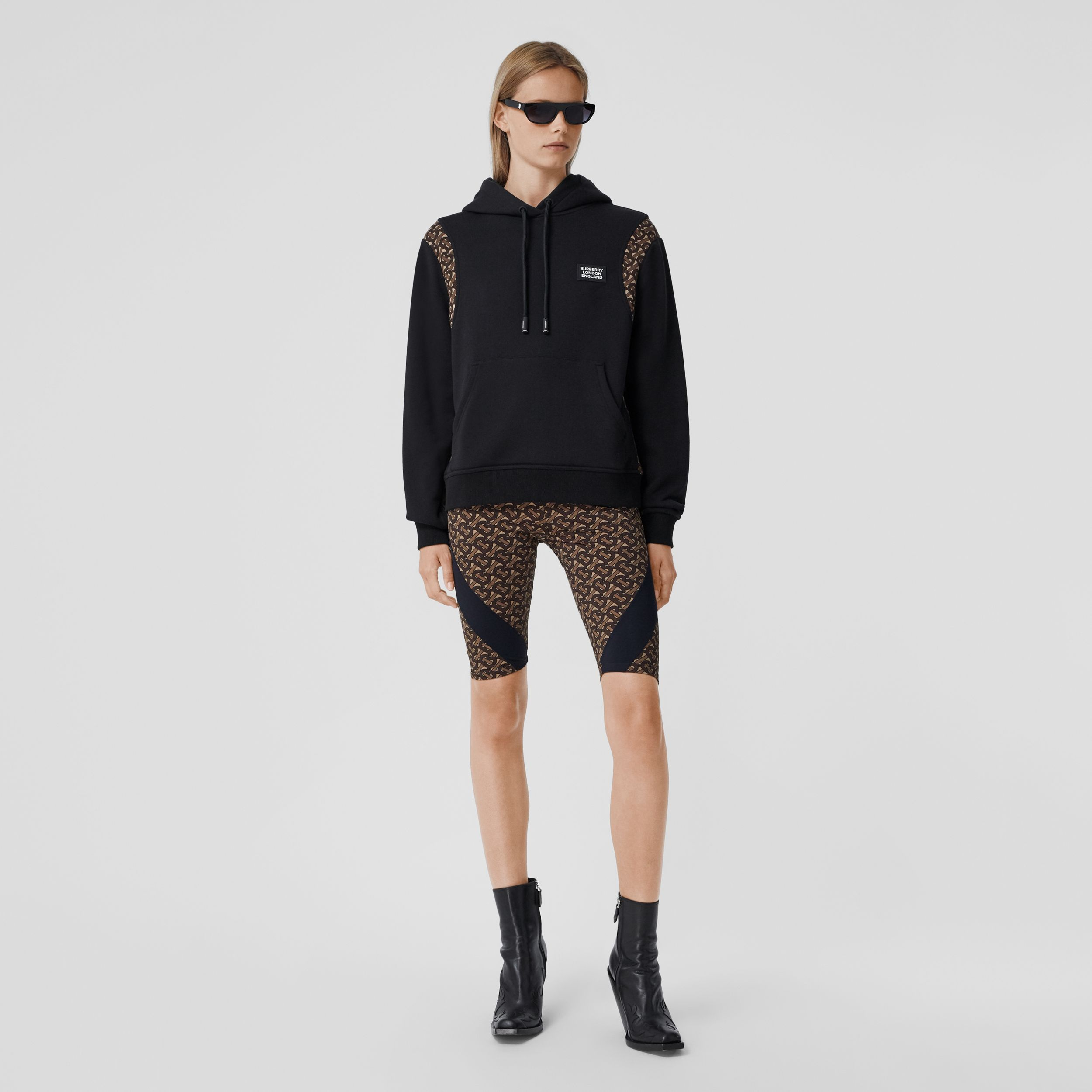 Monogram Print Panel Cotton Oversized Hoodie in Black - Women | Burberry Australia - 1