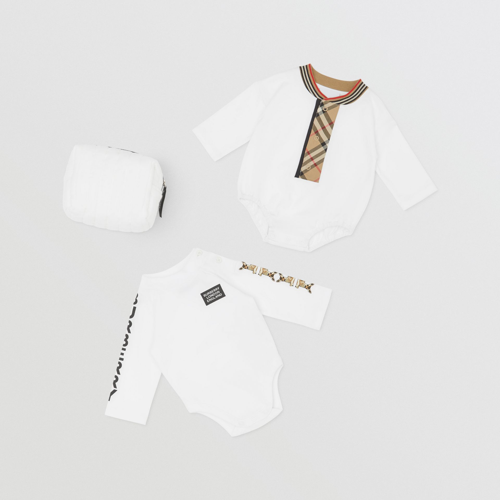 Check Trim Organic Cotton Two-piece Baby Gift Set in White - Children   Burberry United Kingdom - gallery image 0