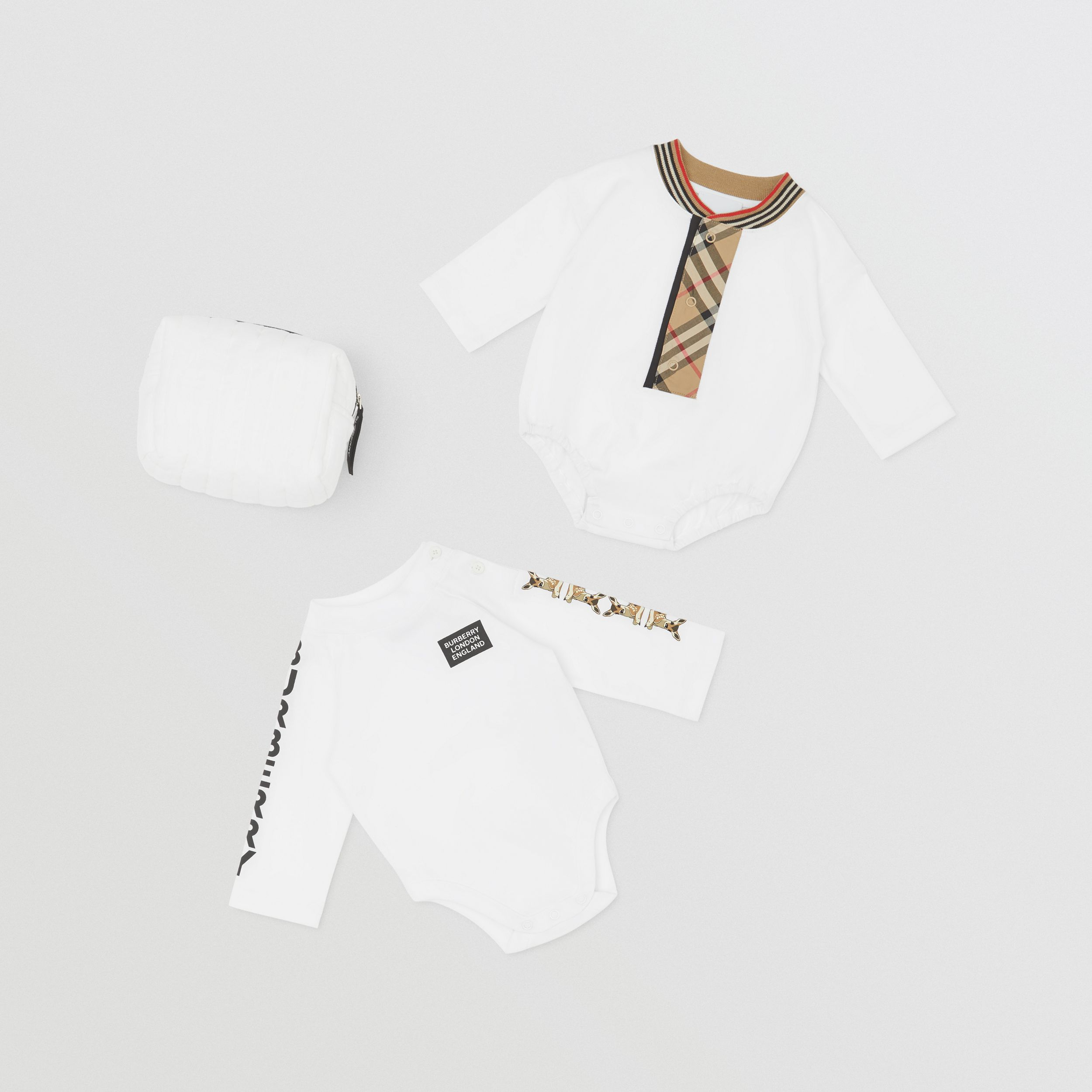 Check Trim Organic Cotton Two-piece Baby Gift Set in White - Children | Burberry - 1