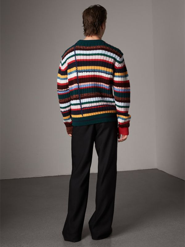 Striped Wool Cashmere Cotton Sweater in Dark Racing Green - Men   Burberry - cell image 2