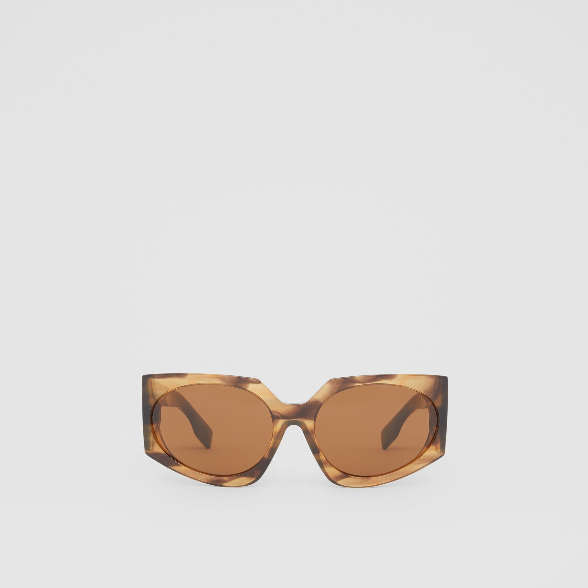 Geometric Frame Sunglasses in Bright Tortoiseshell - Women | Burberry - gallery image 0