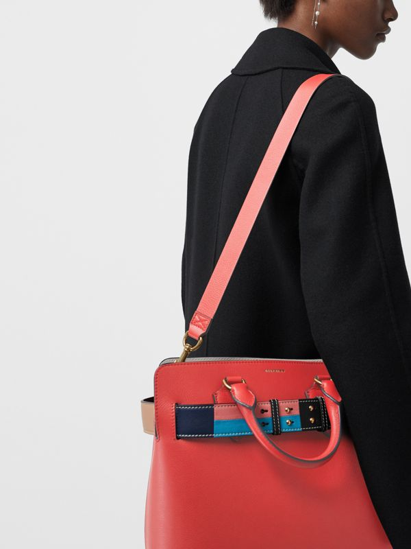 The Medium Leather Colour Block Detail Belt Bag in Bright Crimson Pink - Women | Burberry - cell image 3