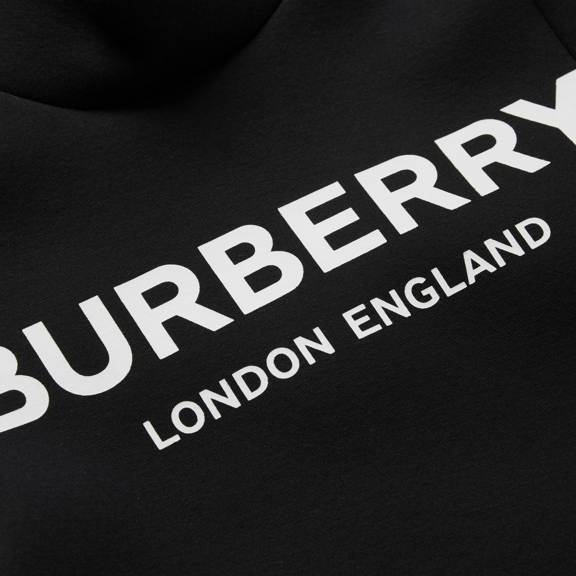 Logo Print Funnel Neck Dress in Black | Burberry Australia - gallery image 1