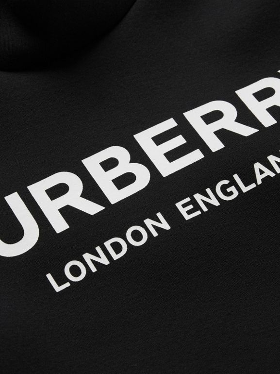 Logo Print Funnel Neck Dress in Black | Burberry Australia - cell image 1