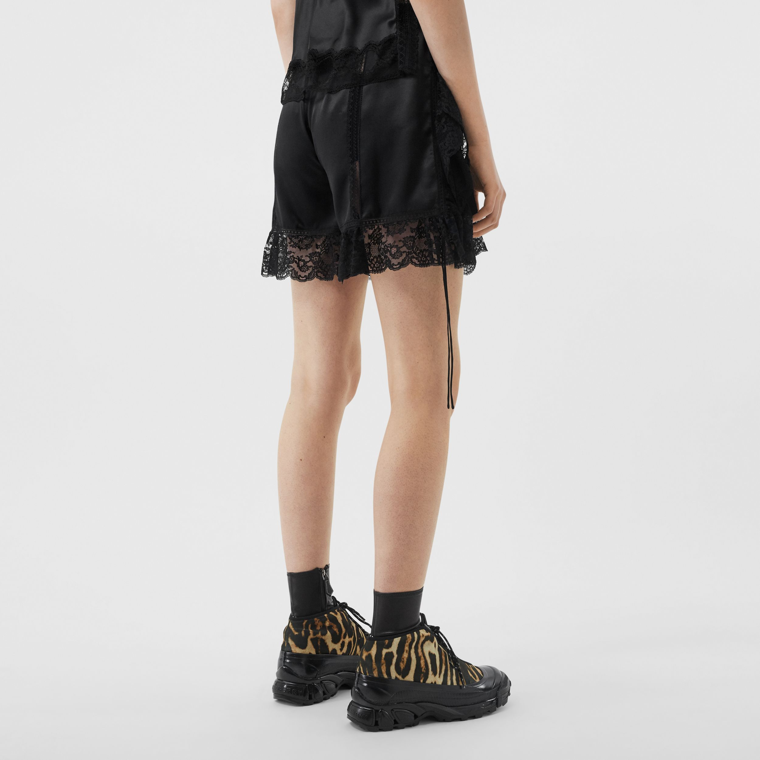 Bottle Cap Detail Satin and Lace Shorts in Black - Women | Burberry - 3