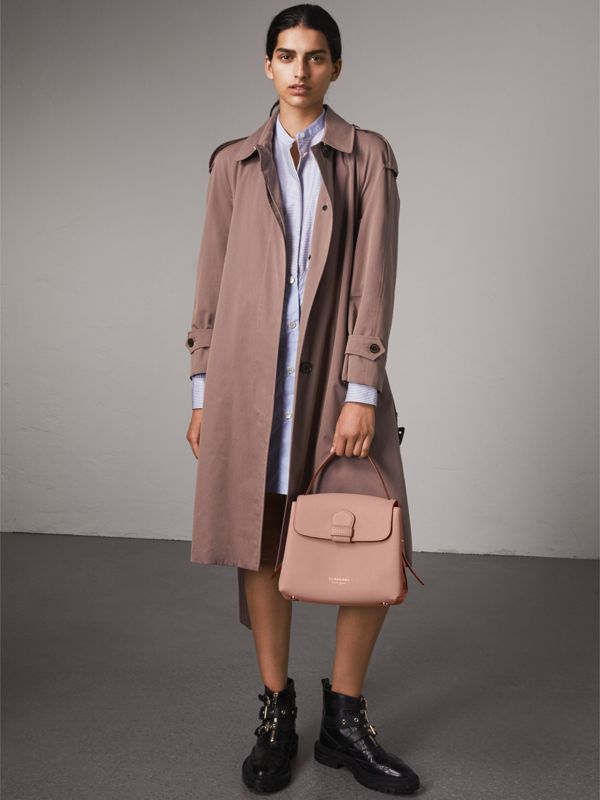 Small Grainy Leather and House Check Tote Bag in Pale Orchid - Women | Burberry - cell image 3