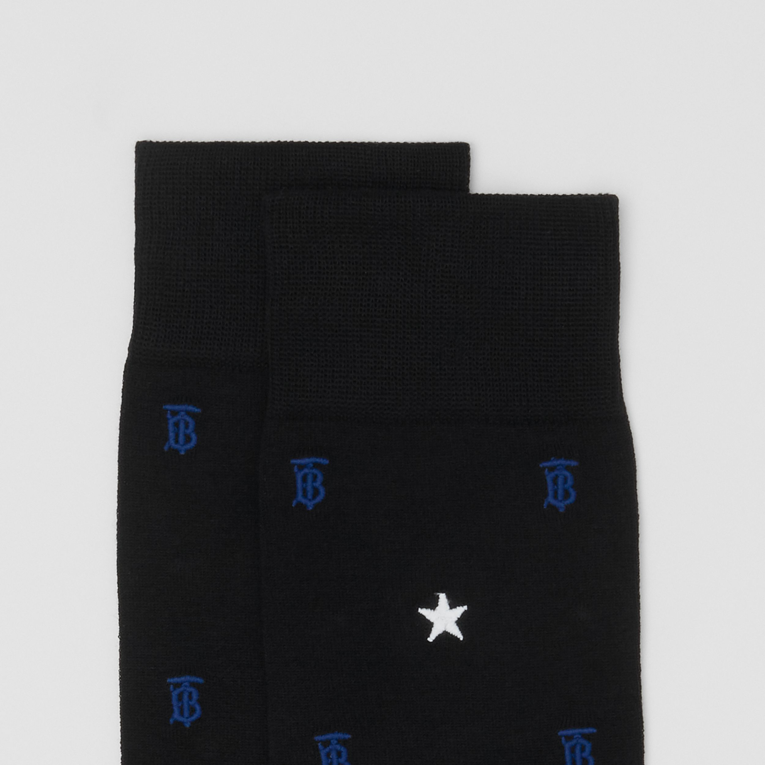 Star and Monogram Motif Cotton Blend Socks in Black | Burberry - 2